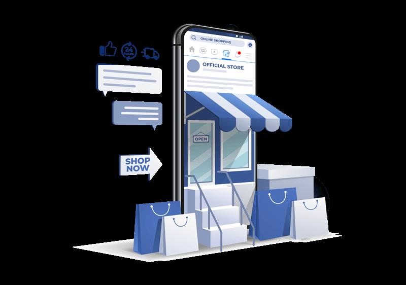 Ilustracja przedstawiająca witrynę sklepową wychodzącą ztelefonu komórkowego